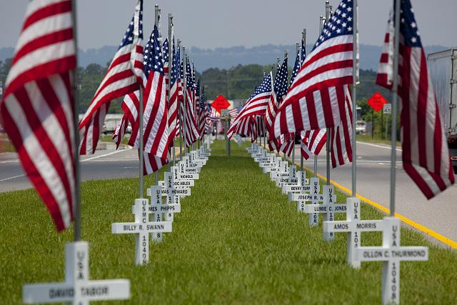 Photo: Flags fly for Gadsden area War Veterans,Gadsden,Etowah County,Alabama,2010 1
