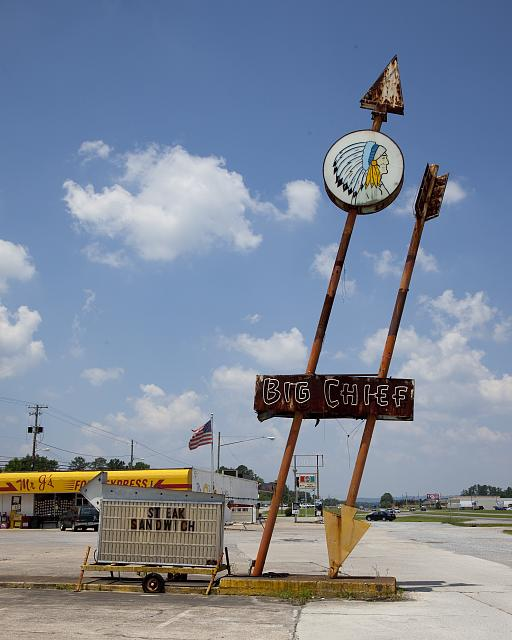 Photo: Photo of Big Chief Restaurant Sign,Gadsden,Etowah County,Alabama,AL,2010