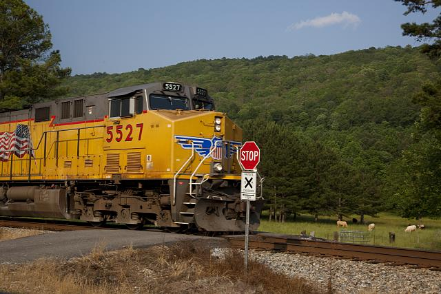 Photo: Train rolls by rural Countryside,Gadsden,Etowah County,Alabama,Railroad,RR,2010